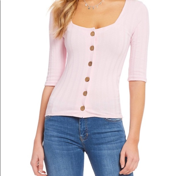 Free People Central Park Cardigan Top Blush